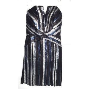 Trixxi Blue & Silver Sequin Strapless Dress